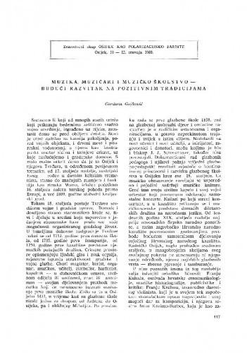 Muzika, muzičari i muzičko školstvo - budući razvitak na pozitivnim tradicijama / G. Gojković