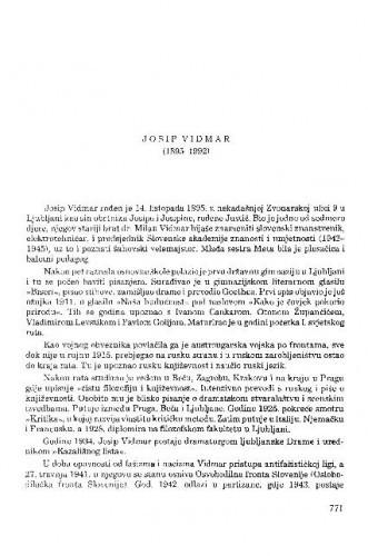 Josip Vidmar (1895-1992) / Slavko Mihalić