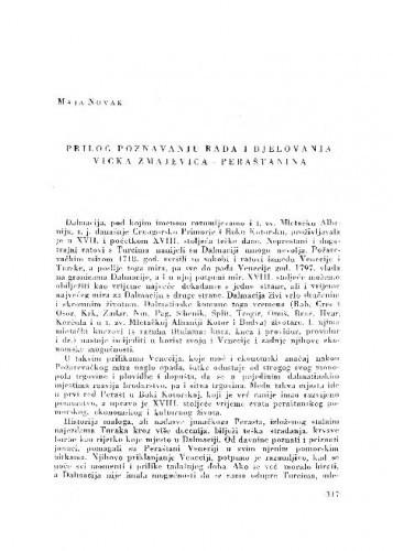 Prilog poznavanju rada i djelovanja Vicka Zmajevića - Peraštanina / Maja Novak