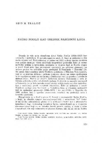 Natko Nodilo kao urednik Narodnog lista / Seid M. Traljić