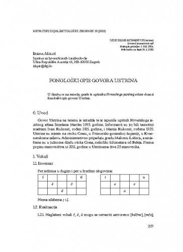 Fonološki opis govora Ustrina / Irena Miloš
