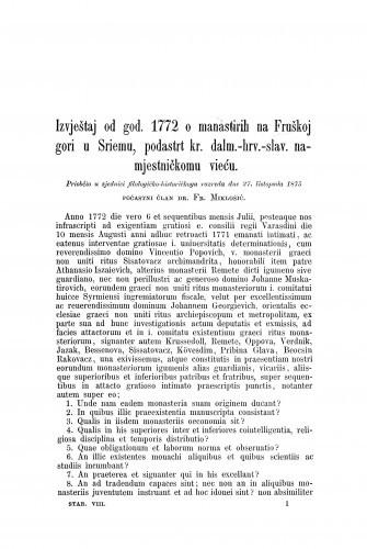 Izvještaj od god. 1772 o manastirih na Fruškoj gori u Sriemu, podastrt kr. dalm.-hrv.-slav. namjestničkomu vieću / Frane Miklošić