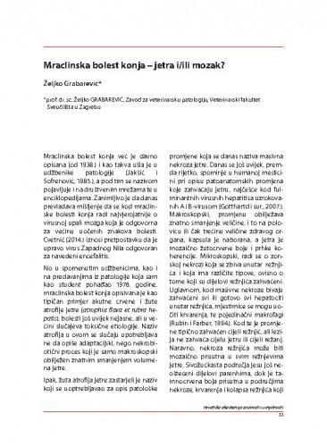 Mraclinska bolest konja – jetra i/ili mozak? / Željko Grabarević