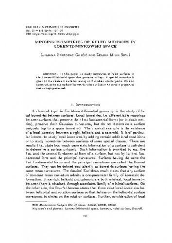 Minding isometries of ruled surfaces in Lorentz-Minkowski space / Ljiljana Primorac Gajčić, Željka Milin Šipuš