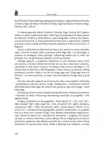 Ivo Oštarić, Stani otoka Paga od prapovijesti do danas, Ogranak Matice hrvatske u Kolanu, Ogranak Matice hrvatske u Novalji, Ogranak Matice hrvatske u Pagu, Novalja, 2017. : [prikaz] / Smiljan Gluščević