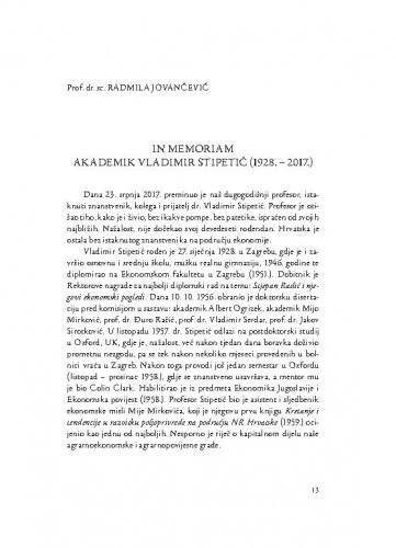 In memoriam akademik Vladimir Stipetić (1928.-2017.) / Radmila Jovančević
