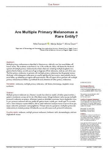 Are multiple primary melanomas a rare entity? / Nika Franceschi, Marija Buljan, Mirna Šitum