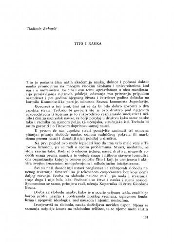 Tito i nauka / V. Bakarić