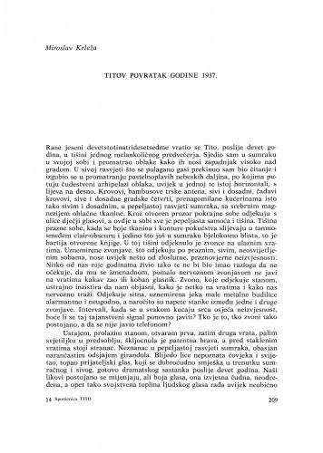 Titov povratak godine 1937 / M. Krleža