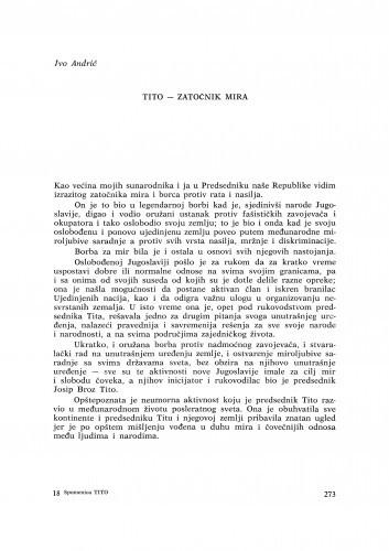 Tito - zatočnik mira / I. Andrić