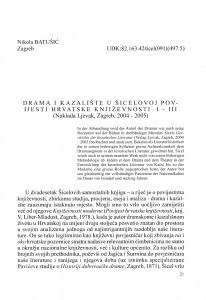 Drama i kazalište u Šicelovoj Povijesti hrvatske književnosti I-III (Naklada Ljevak, Zagreb, 2004-2005) / Nikola Batušić