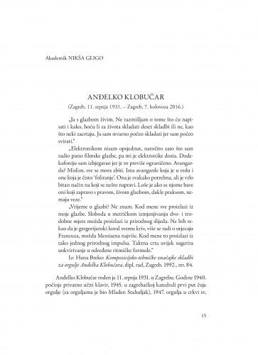 Anđelko Klobučar : (Zagreb, 11. srpnja 1931. - Zagreb, 7. kolovoza 2016.) / Nikša Gligo