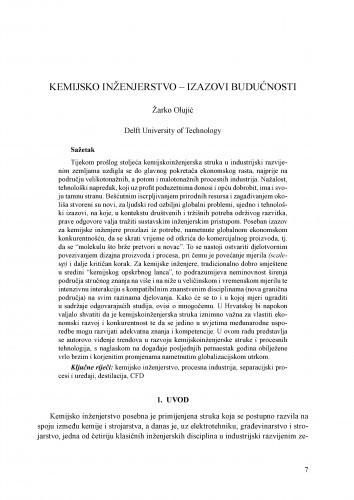 Kemijsko inženjerstvo - izazovi budućnosti / Žarko Olujić