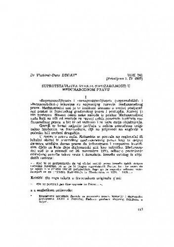 Suprotstavljiva stanja (opozabilnost) u međunarodnom pravu / Vladimir-Đuro Degan