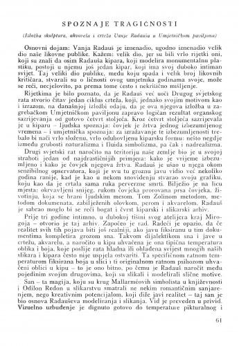 Spoznaje tragičnosti : izložba skulptura, akvarela i crteža Vanje Radauša u Umjetničkom paviljonu / Matko Peić