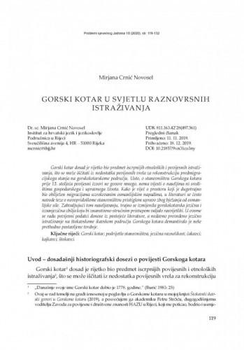 Gorski kotar  u svjetlu raznovrsnih istraživanja / Mirjana  Crnić Novosel