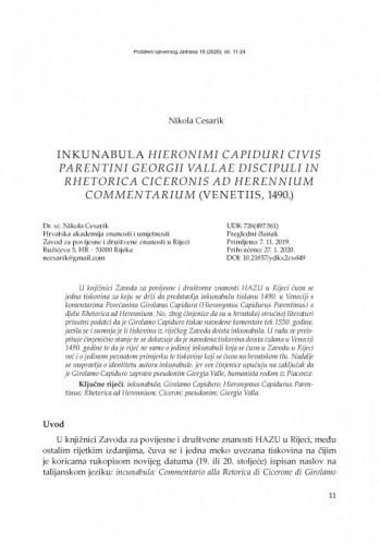 Inkunabula Hieronimi Capiduri civis Parentini Georgii Vallae discipuli in Rhetorica Ciceronis ad Herennium commentarium (Venetiis,  1490.) / Nikola Cesarik