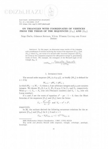 On triangles with coordinates of vertices from the terms of the sequences {Ukn} and {Vkn} / Neşe Ömür, Gökhan Soydan, Yücel Türker Ulutaş and Yusuf Doğru