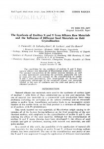The synthesis of zeolites X and Y from silicate raw materials and the influence of different seed materials on their crystallization / J. Tanevski, O. Lahodny-Šarc, H. Lechert, Xu Ruren
