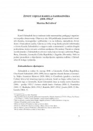 Život i djelo Karela Zahradníka : (1848.-1916.) / Martina Bečvářová