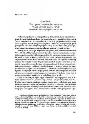 Matej Šekli, Zemljepisna in osebna lastna imena v kraju Livek in njegovi okolici, Založba ZRC SAZU, Ljubljana: 2008. : [prikaz] / Joža Horvat