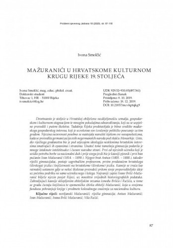 Mažuranići u hrvatskome kulturnom krugu Rijeke 19. stoljeća / Ivona Smolčić