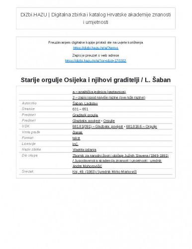 Starije orgulje Osijeka i njihovi graditelji / L. Šaban