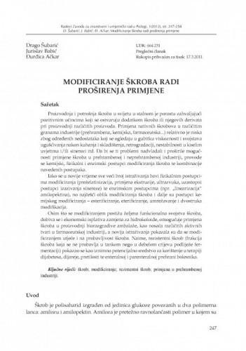 Modificiranje škroba radi proširenja primjene / Drago Šubarić, Jurislav Babić, Đurđica Ačkar