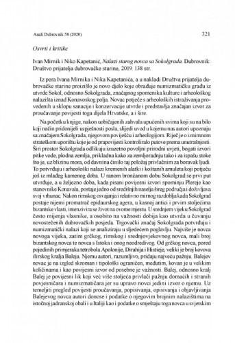 Ivan Mirnik i Niko Kapetanić, Nalazi starog novca sa Sokolgrada. Dubrovnik: Društvo prijatelja dubrovačke starine, 2019 : [prikaz] / Tomislav Šeparović,