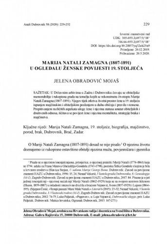 Marija Natali Zamagna (1807-1891) u ogledalu ženske povijesti 19. stoljeća / Jelena Obradović Mojaš