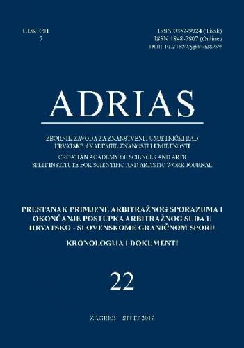 Sv. 22(2019) : Sv. 22 (2019) : Prestanak primjene arbitražnog sporazuma i okončanje postupka Arbitražnog suda u hrvatsko-slovenskome graničnom sporu ; kronologija i dokumenti / glavni urednik Davorin Rudolf