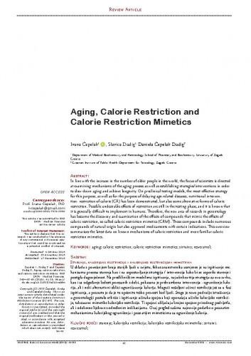 Aging, Calorie Restriction and Calorie Restriction Mimetics / Ivana Čepelak, Slavica Dodig, Daniela Čepelak Dodig