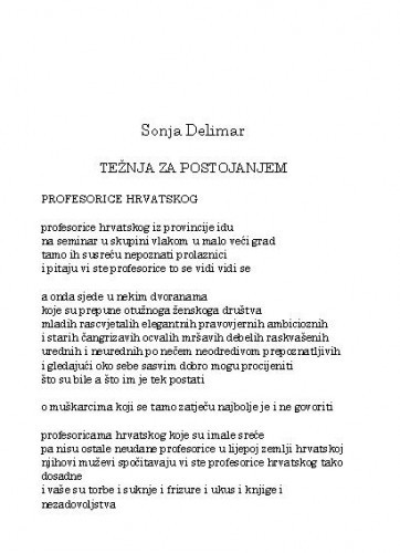 Težnja za postojanjem / Sonja Delimar