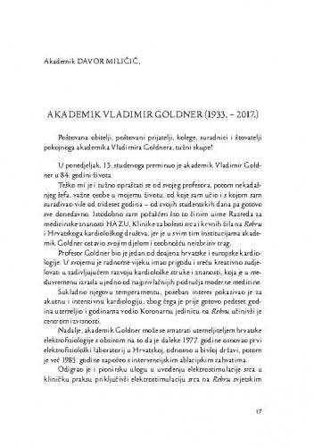 Akademik Vladimir Goldner (1933.-2017.) / Davor Miličić