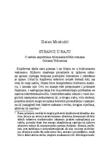 Stranci u raju : o nekim aspektima kriminalističkih romana Gorana Tribusona / Zlatan Mrakužić