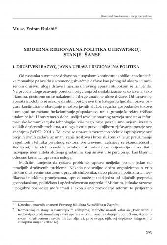 Moderna regionalna politika u Hrvatskoj: stanje i šanse : [strukturne zadaće] / Vedran Đulabić