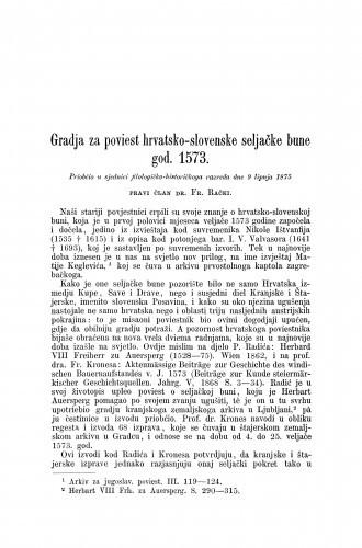 Gradja za poviest hrvatsko-slovenske seljačke bune god. 1573. / Franjo Rački