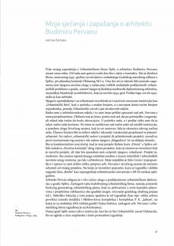 Moja sjećanja i zapažanja o arhitektu Budimiru Pervanu / Antun Šatara