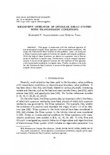 Resolvent operator of singular Dirac system with transmission conditions / Bilender P. Allahverdiev, Hüseyin Tuna
