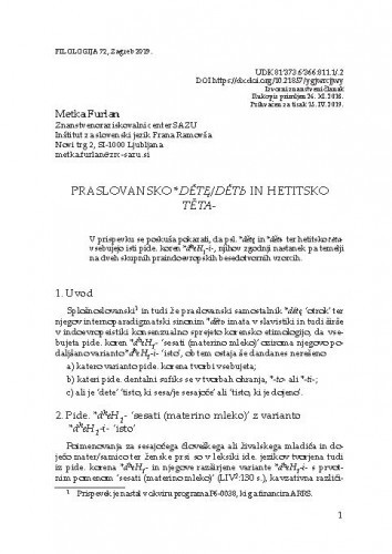 Praslovansko *dětę/dětь in hetitsko tēta- / Metka Furlan