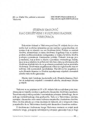 Stjepan Đaković kao društveni i kulturni radnik Vinkovaca / Zlatko Virc