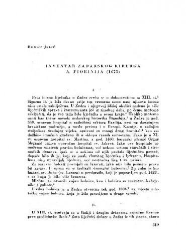 Inventar zadarskog kirurga A. Fiorinija (1675) / Roman Jelić