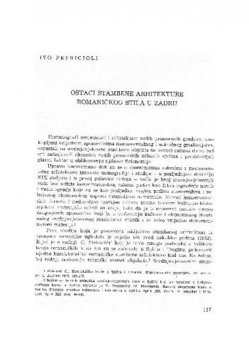 Ostaci stambene arhitekture romaničkog stila u Zadru / Ivo Petricioli