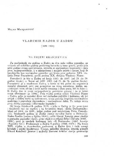 Vladimir Nazor u Zadru : (1899-1903) / Milan Marjanović