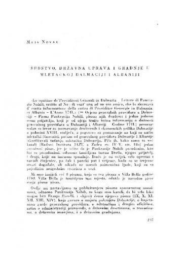 Sudstvo, državna uprava i gradnje u Mletačkoj Dalmaciji i Albaniji / Maja Novak