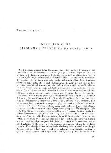 Nekoliko slika Girolama i Francesca de Santacroce / Kruno Prijatelj