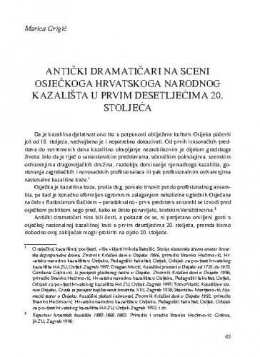 Antički dramatičari na sceni osječkoga Hrvatskoga narodnog kazališta u prvim desetljećima 20. stoljeća / Marica Grigić