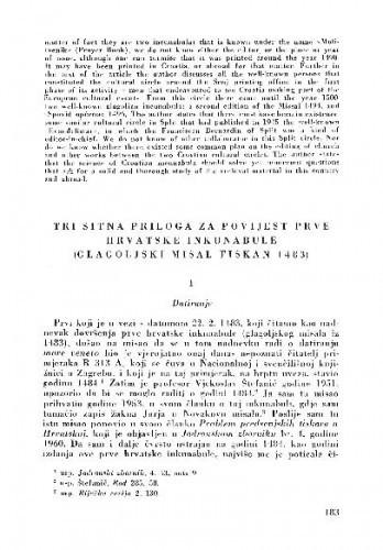 Tri sitna priloga za povijest prve hrvatske inkunabule (Glagoljski misal tiskan 1483) / Valentin Putanec