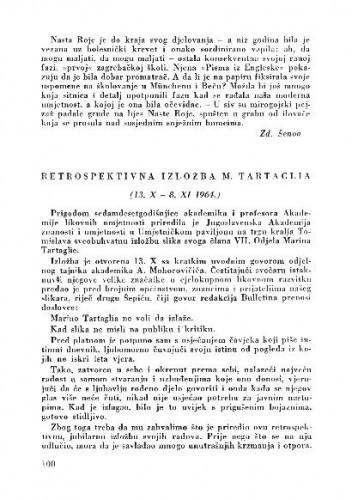 Retrospektivna izložba M. Tartaglia / Dragovan Šepić