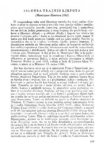 Izložba trajnih ljepota : Mantegna - Mantova 1961 / Lj. B.